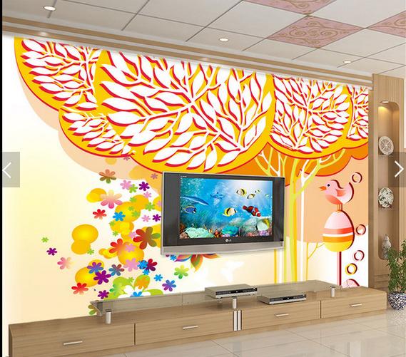 3D Birds Leaves Tree8 Wallpaper Mural Paper Wall Print Wallpaper Murals UK Carly