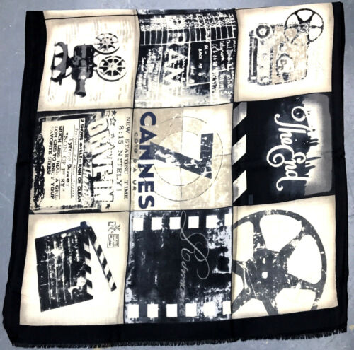 Ladies Printed Cannes Film History Print Soft Large Scarf Maxi Heavy Viscose