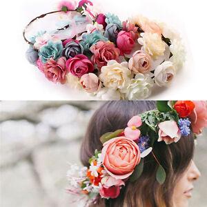 Women-Boho-Flower-Floral-Hairband-Headband-Crown-Party-Bride-Wedding-BeachVst-NW