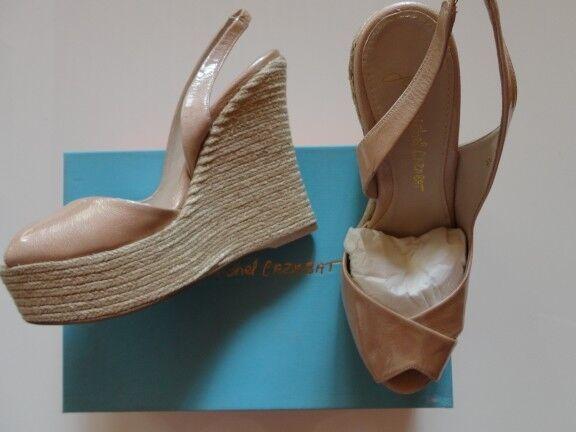 Sandales compensées en cuir Nude JEAN MICHEL CAZABAT 38 NEUVES