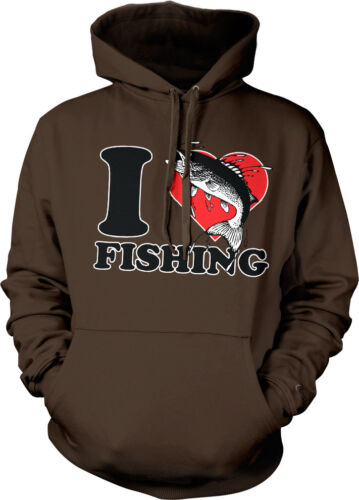 I Love Heart Fishing Fisherman Rod Reel Lure Bobber Lake Boat Hoodie Pullover