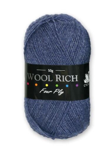 Cygnet Truly Wool Rich 4 Ply Yarn 50g Ball All Shades avail 10/% off for 10 Balls