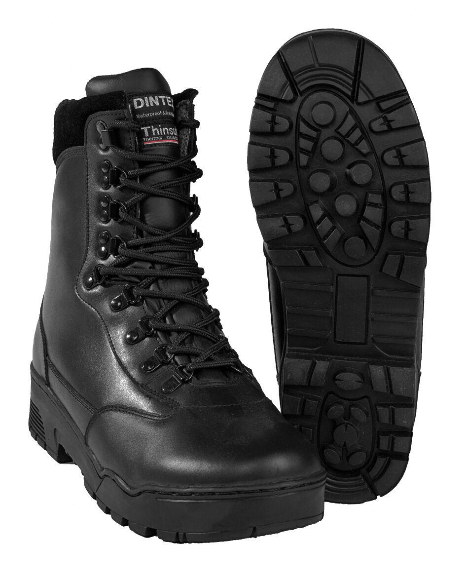MIL-TEC Tactical Pelle Stivali Stivali Di Pelle Stivali Scarpe Nero 39-47