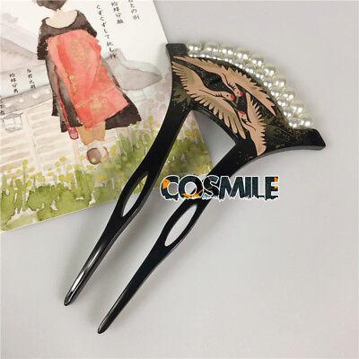 Japanese Hairpin Kanzashi Crane Pattern Pearl for Kimono Geisha Bride Acrylic Sa