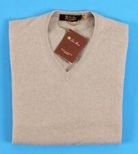 $1150 NWT - LORO PIANA 100% BABY CASHMERE Scollo V-Neck Sweater - Beige 48 S M
