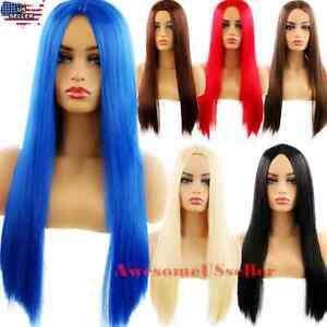 Women-Halloween-Cosplay-Costume-Party-Hair-Anime-Wigs-Hair-Long-Wig-Straight-NEW