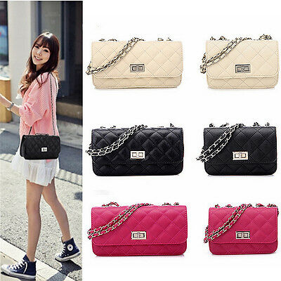 Women Leather Quilted Chain Satchel Crossbody Shoulder Clutch Bag Handbag Purse