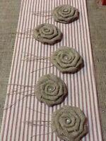 5 Natural Burlap Spray Rose Flowers Rustic Wedding Pearl Option Table Decor