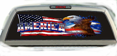 Eagle American Flag #01 Rear Window Vehicle Graphic Tint Truck Stickers Decals