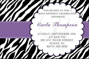 Image Is Loading 30 Zebra Invitations Adult Birthday Party Invite Purple