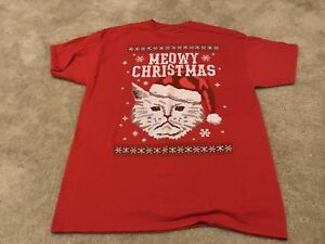 ece7a4421 Men's Ugly Christmas Cat Graphic T-shirt Santa Xmas Meowy Sweater ...