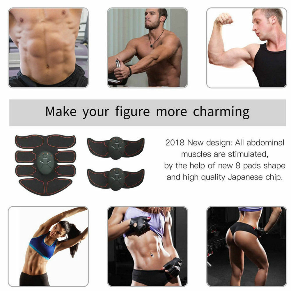 3 Color- ABS Simulator EMS Training Body Abdominal Muscle Exerciser Home Gym Set 10
