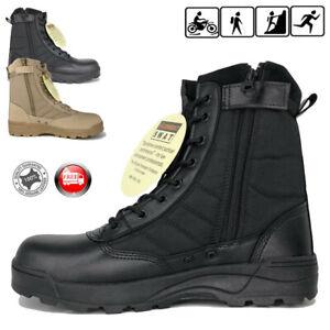 Mens-Desert-Army-Side-Zip-Combat-Patrol-Boots-Tactical-Cadet-Military-Tan-Jungle