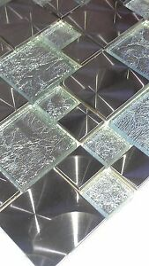 SHEET-OF-MOSAIC-STAINLESS-STEEL-amp-GLASS-FEATURE-TILE-ref-no-8