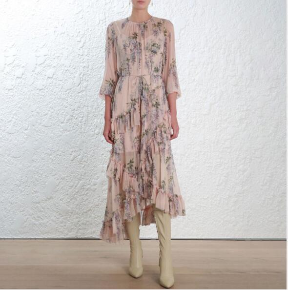 2019SS  damen  Designer Inspirot Luxury Ruffle  Asymmetric Dress