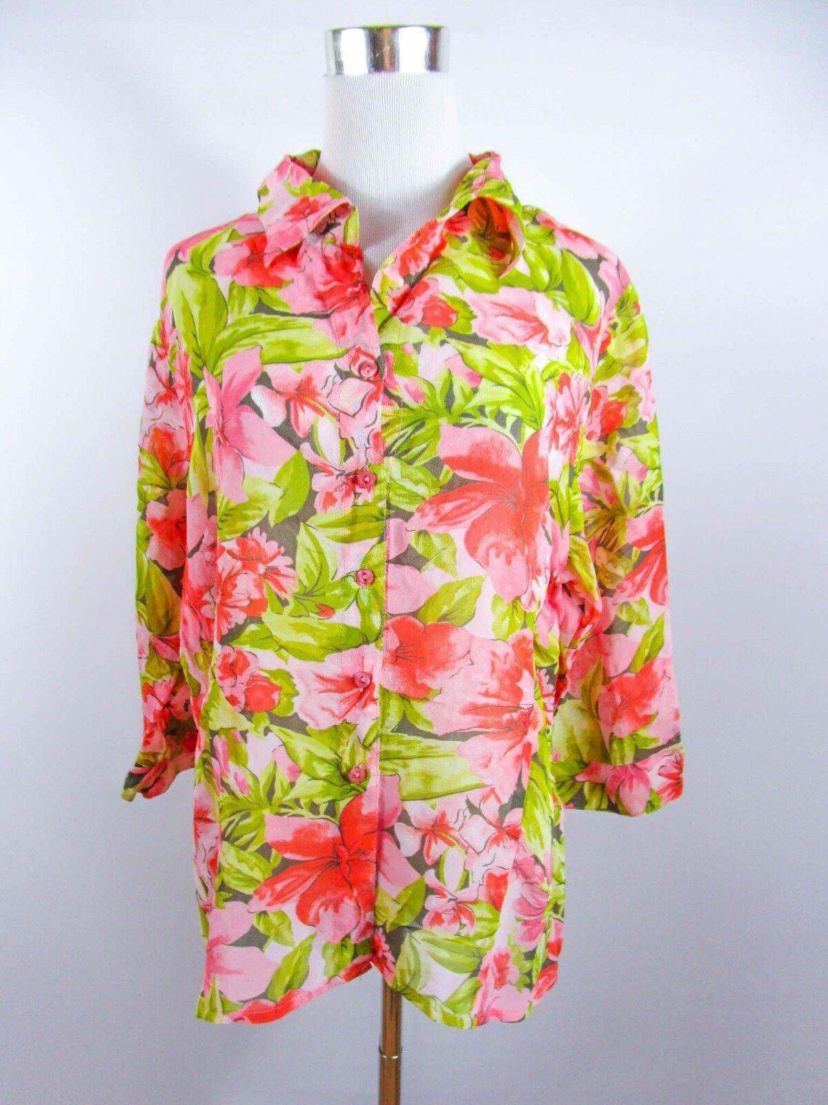 CAROLIN VANITY Women's Vtg Floral Casual Summer Plus sz XXL Shirt Blouse BD79