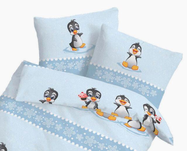 Baby Bettwäsche 100x135 Cm Pinguin Blau 27953 Biber Günstig Kaufen