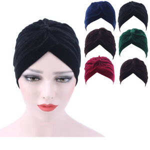 cd2841619ace9 Women Velvet Muslim Ruffle Cancer Chemo Hat Beanie Scarf Turban Head ...