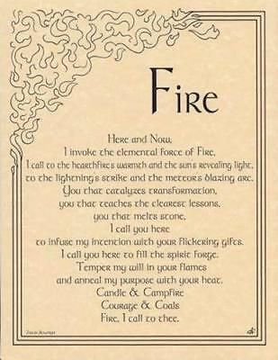 FIRE INVOCATION Parchment Page for Book of Shadows, Altar! | eBay