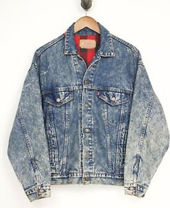 VTG-1980s-Levis-Denim-Trucker-Jacket-Small-Acid-Wash-Buffalo-Plaid-Lining-Jean