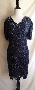Vintage-80-039-s-Laurence-Kazar-L-Navy-Blue-Iridescent-Bead-Sequin-Formal-Dress-Gown