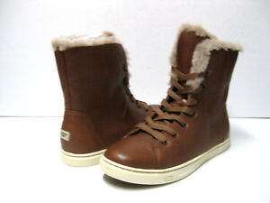 Ugg Croft Luxe Quilt Women Sneaker Boots Leather Chestnut