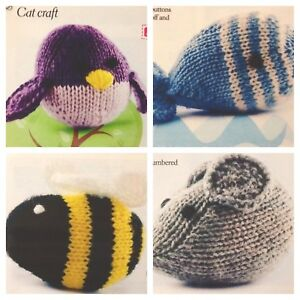 "Easy Knit Kitten Cat Toy approx 9/""  Simple Stocking Stitch DK Knitting Pattern"