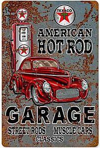 Texaco-Americana-Hot-Rod-Garage-Arrugginiti-Metallo-Firmare-450mm-x-300mm-Pst