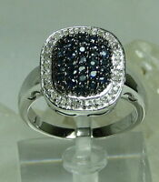 Shopnbc Gem Treasures Sterling Silver 1ctw Blue Sapphire & Diamond Pave Sz 10