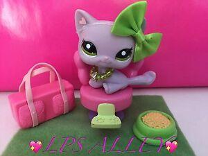 *AUTHENTIC* LPS Littlest Pet Shop #1994 PURPLE SITTING CAT GREEN EYES