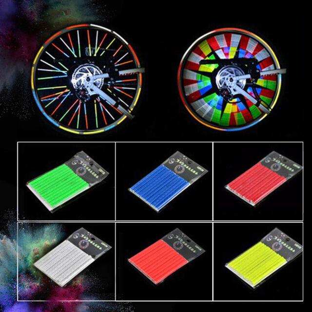 12pcs Bike Wheel Rim Spoke Reflector Mount Clip Tube Bicycle Accessories 6 Color