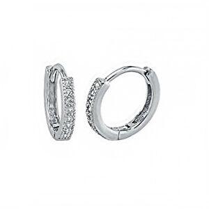 Genuine Diamond Huggie Hoop Earrings set in Solid Sterling Silver