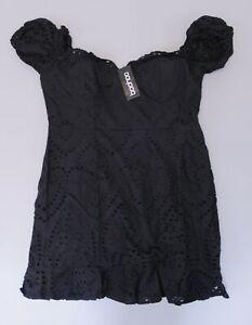 boohoo-Women-039-s-Plus-Broiderie-Bodice-Ruffle-Hem-Dress-SV3-Black-US-14-UK-18