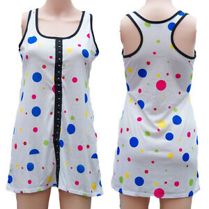 COLOURED-SPOTS-WHITE-LONG-VEST-DRESS-TOP-Size-8-to-10-ALTERNATIVE-GOTHIC-EMO
