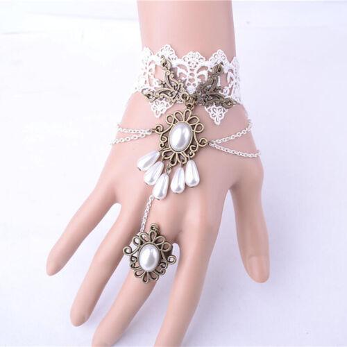Gothique Punk Faux Pearl dentelle Harnais Esclave Bracelet jonc manchette /& Finger Ring