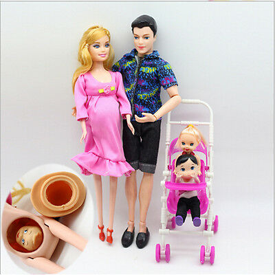 6pcs / lot Dolls Family Educational Real Pregnant Doll Happy Family pour Barbie