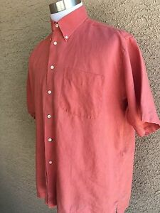 Awesome-Jos-A-Bank-100-Linen-Mens-S-S-Reddish-Shirt-Size-Large-C58