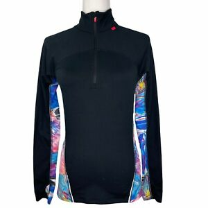 Sweaty-Betty-1-4-Zip-Pullover-Activewear-Jacket-Top-Long-Sleeve-Marble-Black