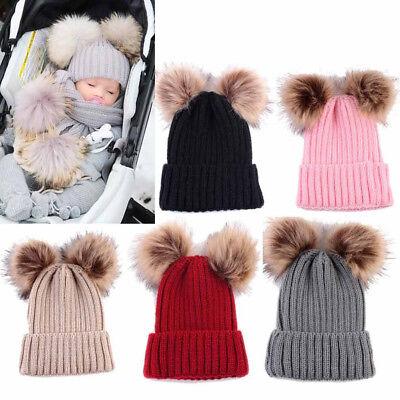 Newborn Kids Baby Boy Girl Pom Hat Winter Warm Crochet Knit Bobble Beanie Cap US