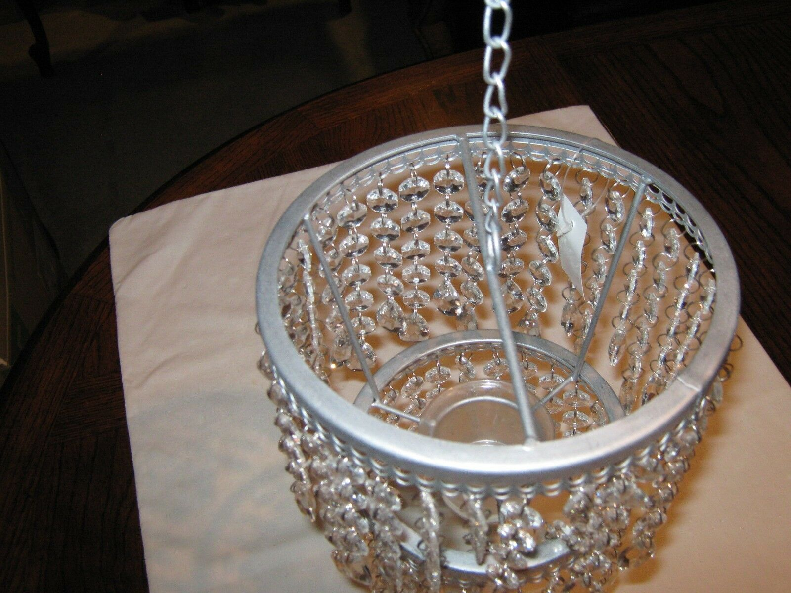Candle Holding Hanging Chandelier , Crystal Like , Sing