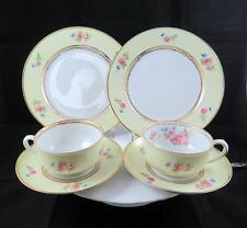 "JVS JOHANN SELTMANN VOHENSTRAUSS 6 PC FLORAL ON YELLOW BAND 2"" TRIO SET 1933-45"