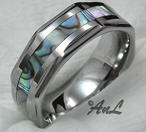 Mens-Wedding-Band-Tungsten-Carbide-Abalone-Inlay-Ring-Bridal-New-Jewelry-Sizes