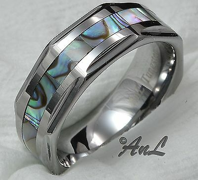 Mens Wedding Band Tungsten Carbide Abalone Inlay Ring Bridal New Jewelry Sizes