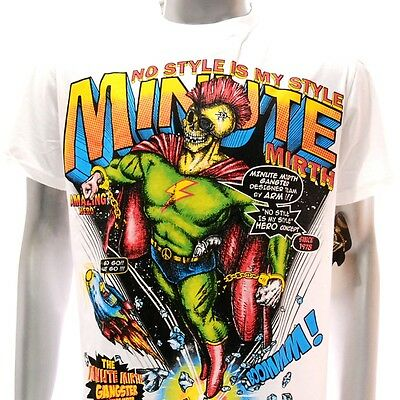 m166w Minute Mirth T-shirt M L XL Tattoo Biker Skate Super Hero Dead Skull Punk