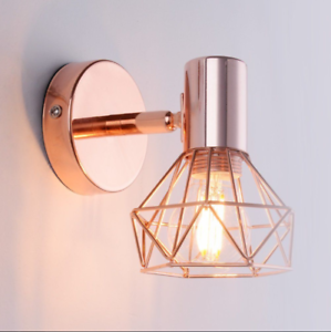 huge selection of 9ddbc 0578f Details about Morden Industrial Style Metel Wall Lamp Rose Gold Cage Sconce  Light E14 BULBS