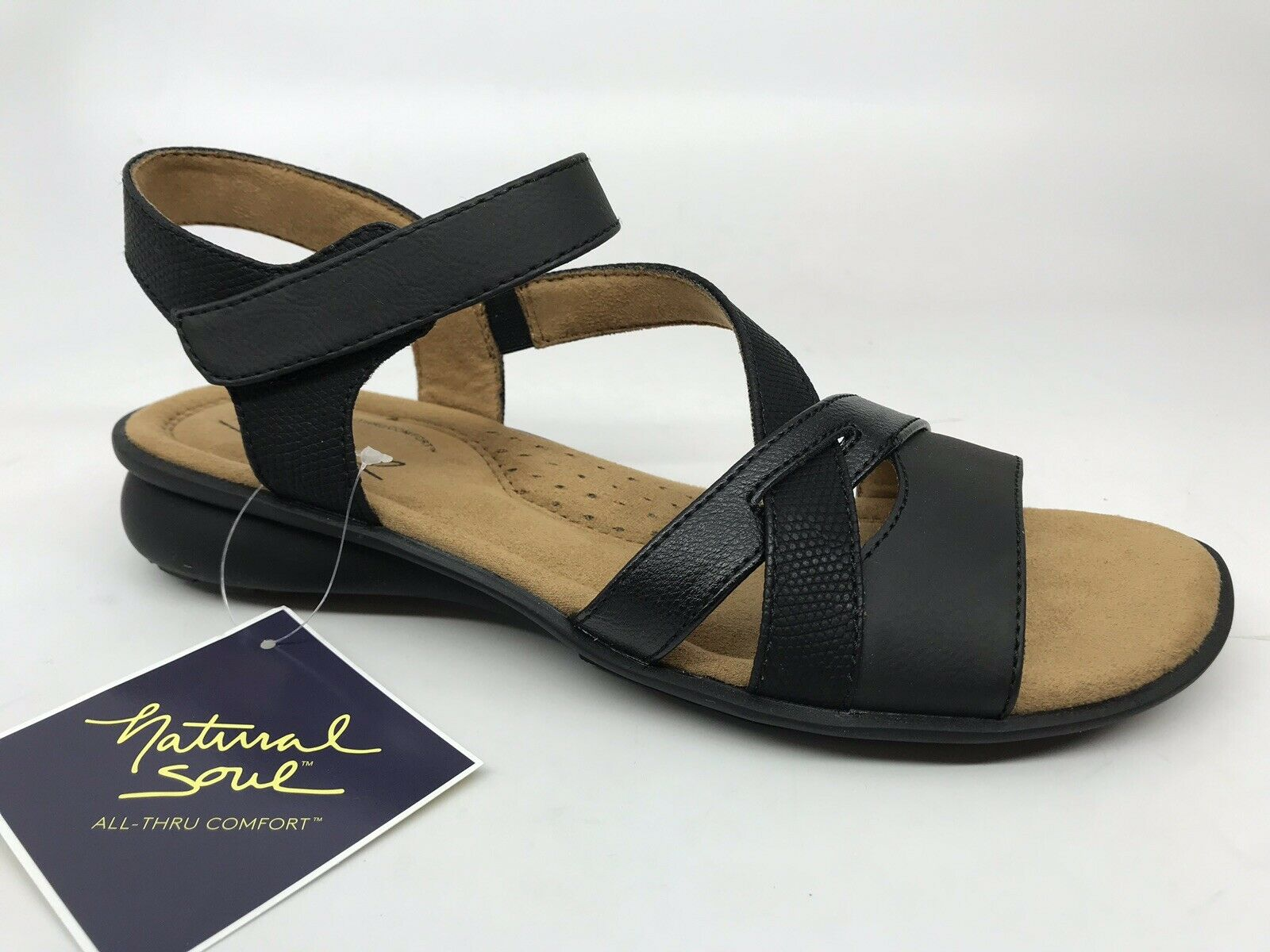 Natural Soul Women's Jordana Flat Sandal Size 8.5 M Black NEW