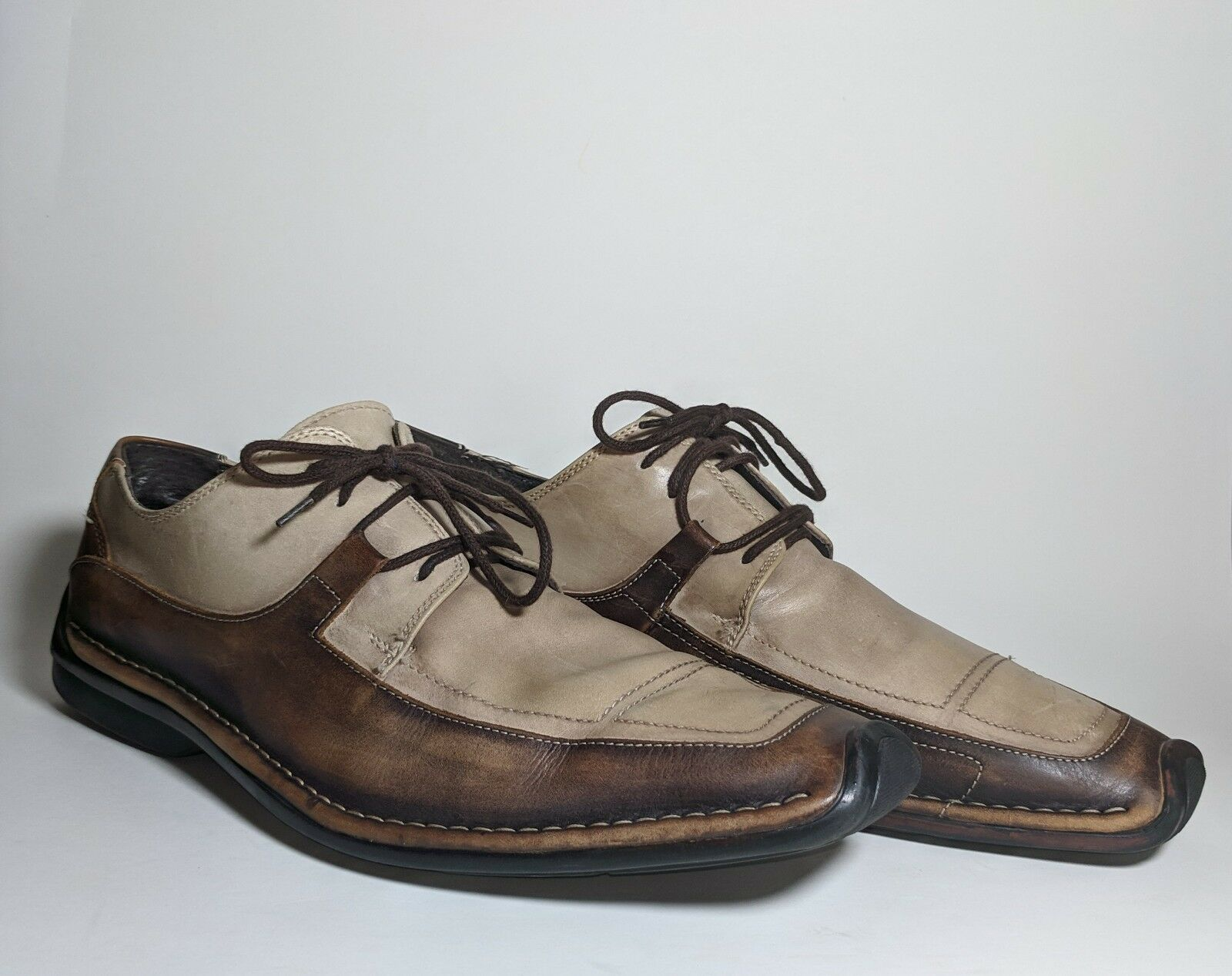 Bacco Bucci Men's Two Tone Brown Leather Venetian Driving Lace Up Sz 11 EUC