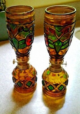 Vintage Pair Amber Stained Glass Mini Hurricane Oil Lamps
