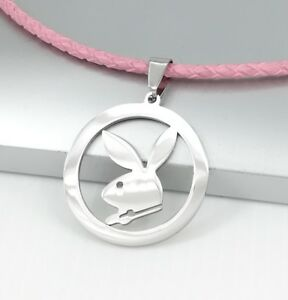 3465f1534a7d Image is loading Silver-Chrome-Round-Playboy-Bunny-Rabbit-Pendant-3mm-