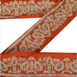 Embellishments & Finishes Antiques Sanskriti Vintage Sari Border Indian Craft Orange Trim Hand Beaded Ribbon Lace